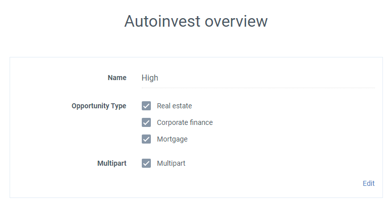 5c0fa8df98 For general settings amount I chose minimum 100 EUR and maximum 300 EUR.  17%-10000% (  for Expected rate of return and 1-12 months as term.