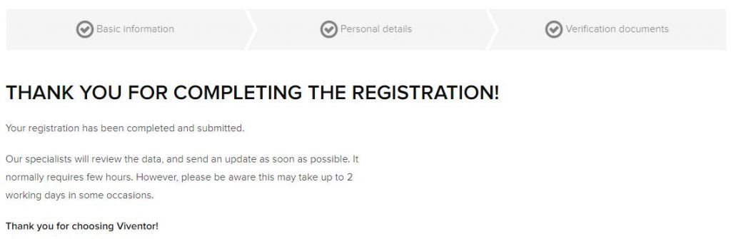 Successful registration notification