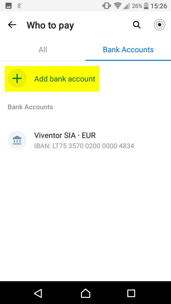 Revolut P2P deposit to Viventor Add bank account
