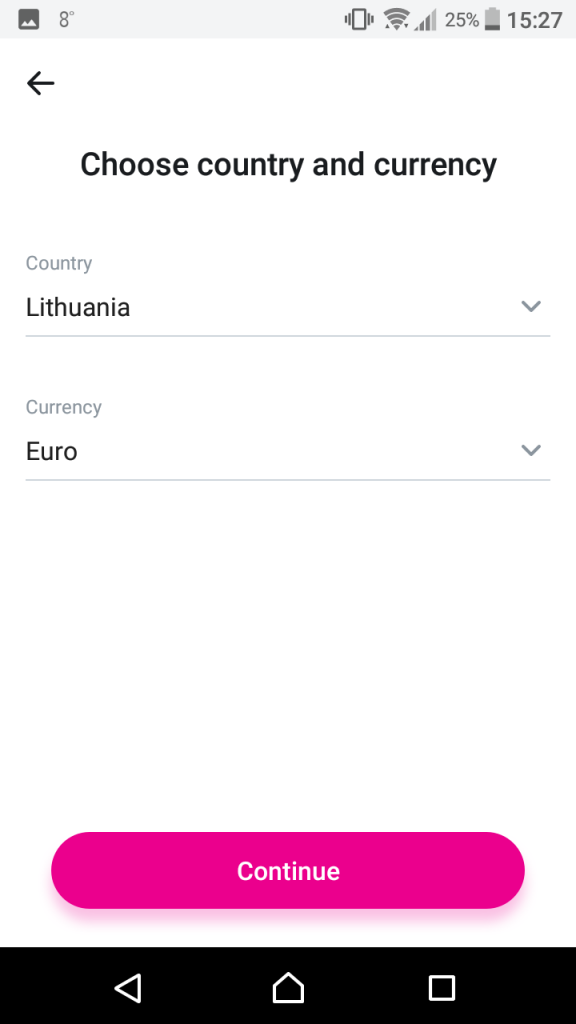 Revolut P2P deposit to Viventor select country and currency