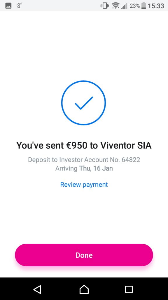 Revolut P2P deposit to Viventor successful transfer