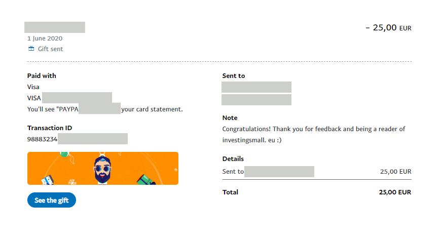 PayPal transaction of 25 EUR