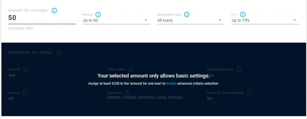 EstateGuru's auto-invest feature when using minimum investment - 50 EUR.